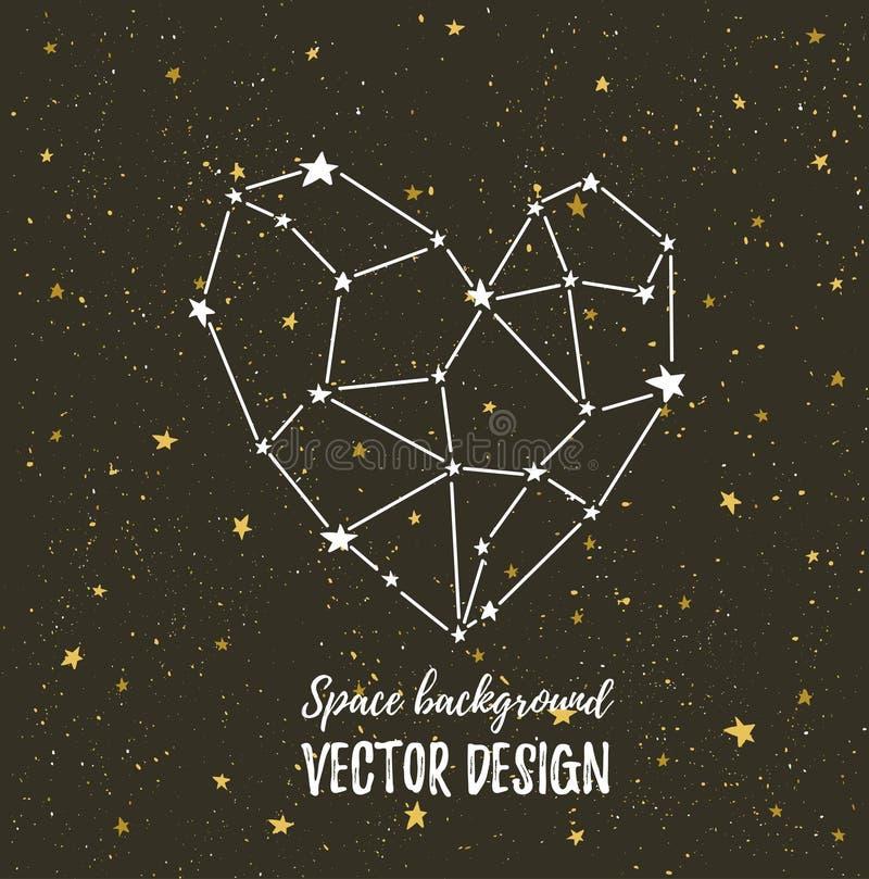 Stjärnbelyst hjärta på den mörka natthimlen med stjärnor Vektorbakgrund för valentin kort, förälskelseaffisch och bröllop royaltyfri illustrationer