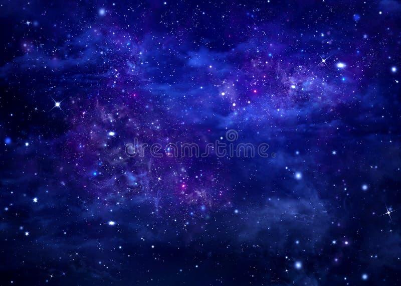 Stjärnklar himmel för abstrakt blå bakgrund royaltyfri illustrationer
