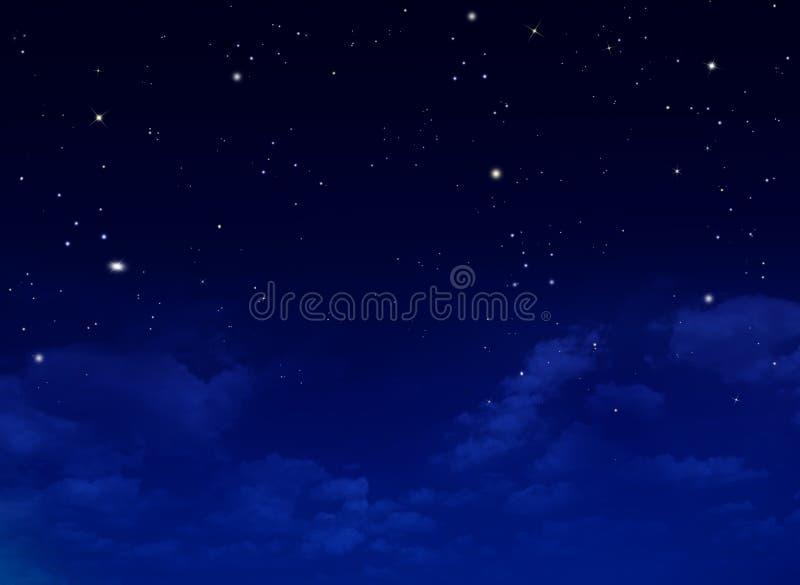 Stjärnklar himmel för natt, abstrakt bakgrund vektor illustrationer