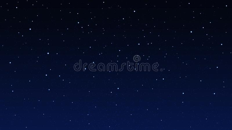 Stjärnklar himmel för natt, mörker - blå utrymmebakgrund med stjärnor vektor illustrationer