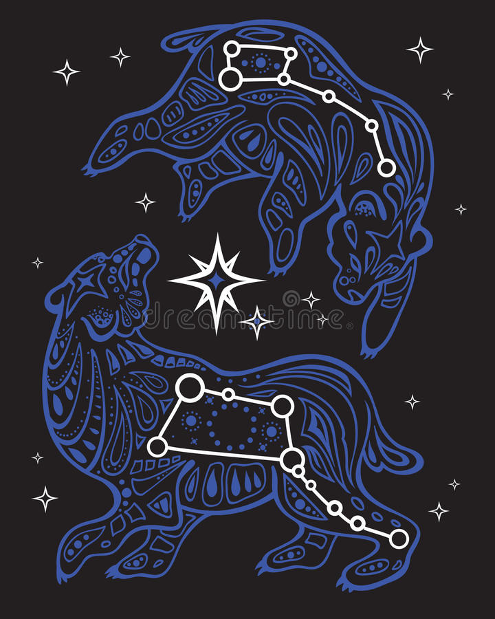 Stjärnklar himmel för tryck Stor och liten skopa royaltyfri illustrationer