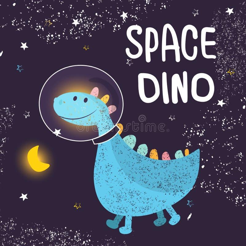 Stjärnklar himmel för utrymme Dinosaurieastronaut i ett spacesuitflyg in i utrymme Trendig det grungetextur eller trycket för beh royaltyfri illustrationer