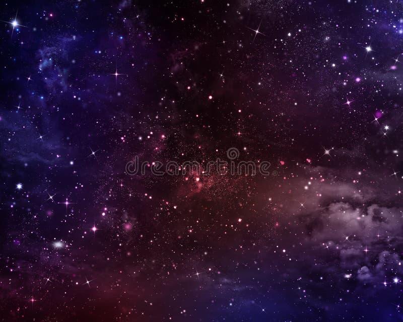 Stjärnklar himmel i öppna utrymmet stock illustrationer