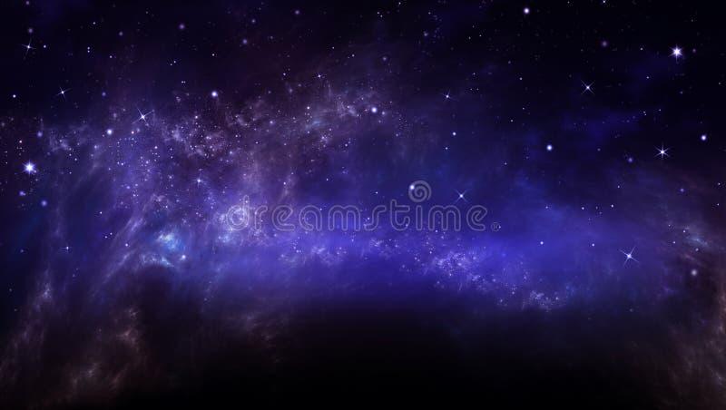 Stjärnklar himmel i öppna utrymmet arkivfoto