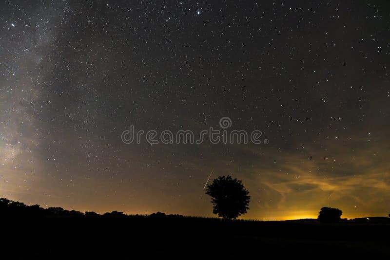 Stjärnklar himmel i sommar på natten av Perseidsen Bayern, Tyskland fotografering för bildbyråer