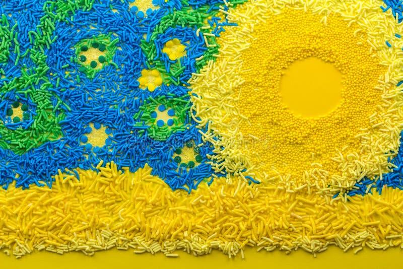 Stjärnklar himmel med färgglad kakatoppning strilar - makrofotoet arkivbild