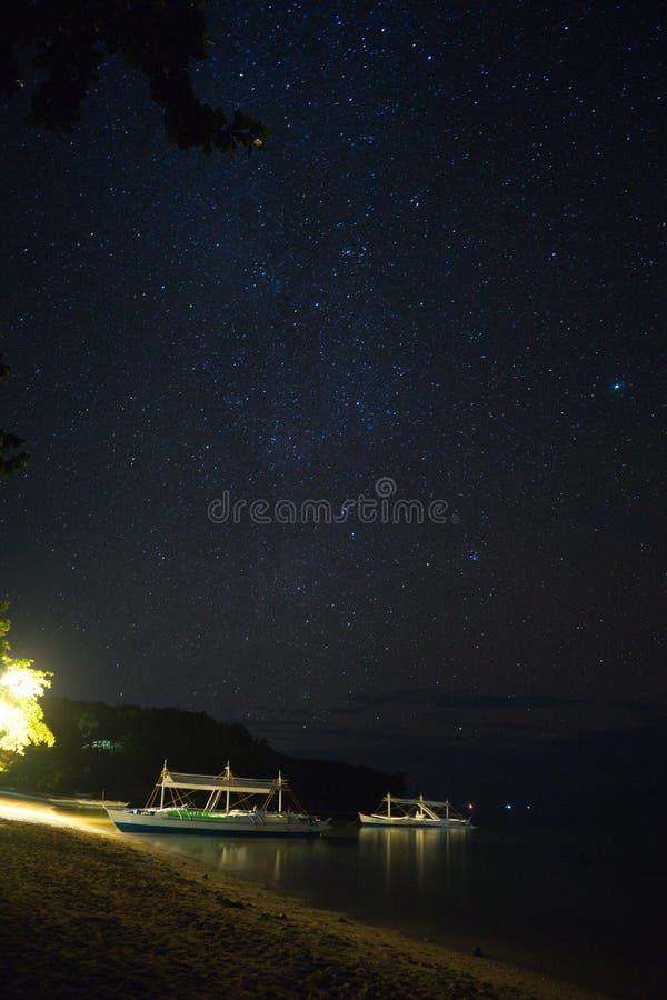 Stjärnklar natt på en strand arkivfoto