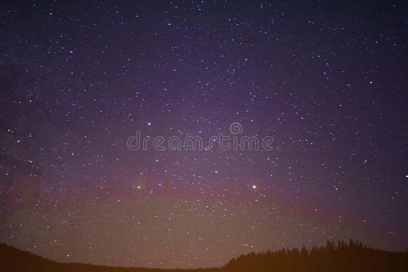 Stjärnklar sommarnatthimmel arkivbild