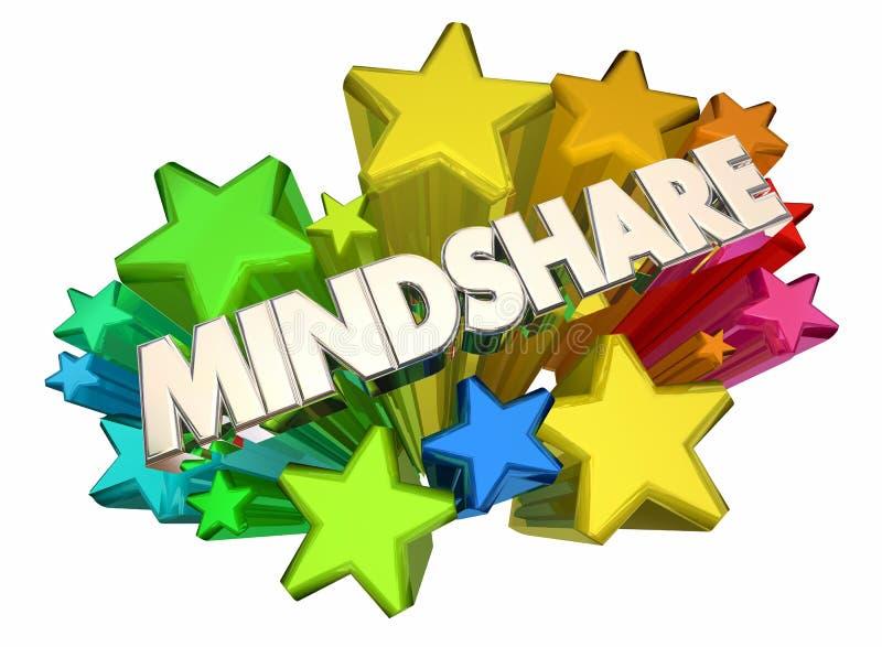 Stjärnor 3d Illustrati för popularitet för överkant för Mindshare medvetenhetuppmärksamhet stock illustrationer