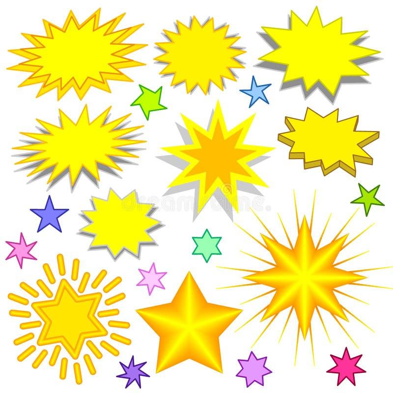 stjärnor för 1 färgstänk stock illustrationer