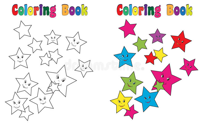 Stjärnor för färgläggningbok plaskar vektor illustrationer