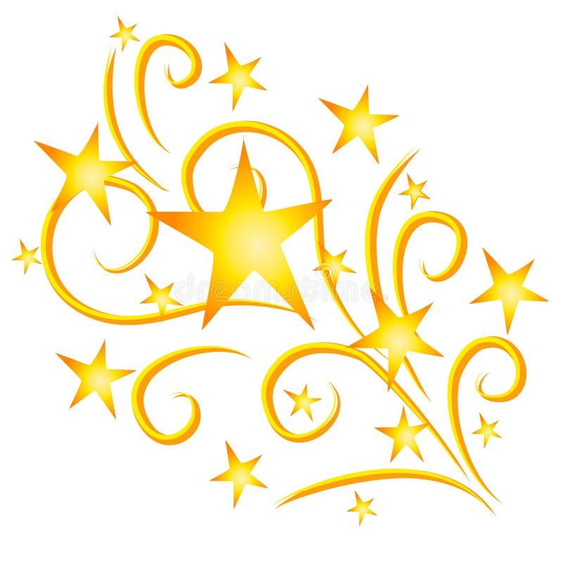 stjärnor för fyrverkeriguldskytte vektor illustrationer
