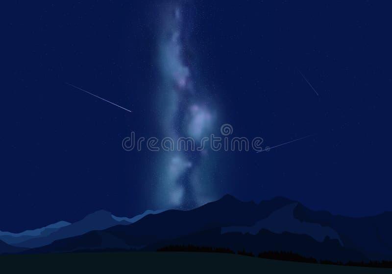 Stjärnor för natthimmel med den mjölkaktiga vägen på bergbakgrund vektor vektor illustrationer