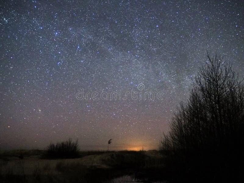 Stjärnor för natthimmel och för mjölkaktig väg, Cassiopeia och andromedakonstellation över havet royaltyfri foto
