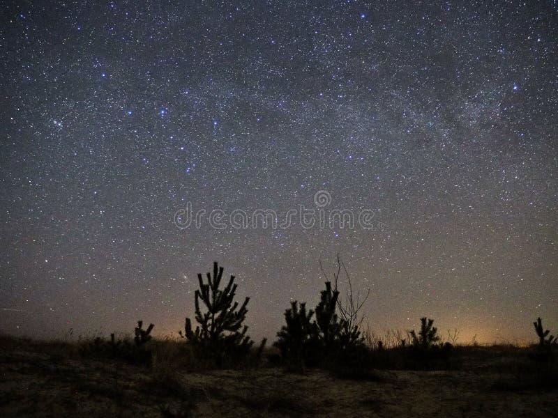 Stjärnor för natthimmel och för mjölkaktig väg, Cassiopeia och andromedakonstellation över havet arkivbild