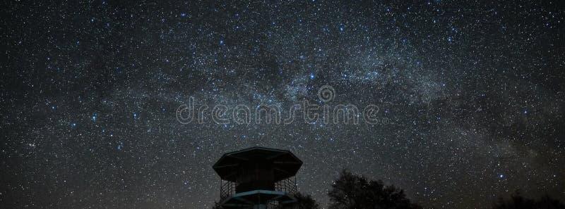 Stj?rnor f?r natthimmel och f?r mj?lkaktig v?g, Perseus och Cassiopeiakonstellation ?ver havet arkivfoton