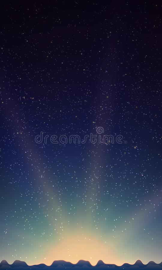 stjärnor för nattsky Abstrakt vektorbakgrund med berglandskap och himmel med stjärnor stock illustrationer
