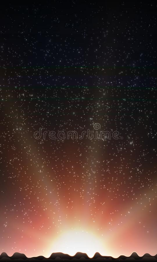 stjärnor för nattsky Abstrakt vektorbakgrund med berglandskap och himmel med stjärnor royaltyfri illustrationer