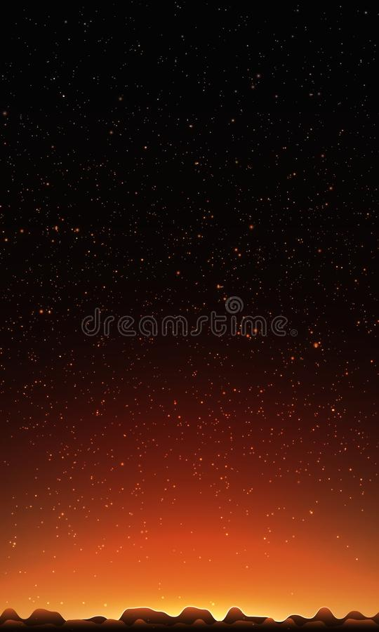 stjärnor för nattsky Abstrakt vektorbakgrund med berglandskap och himmel med stjärnor vektor illustrationer