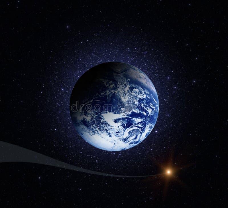 stjärnor för planet för bakgrundsjord fulla Jord i det ändlösa stjärn- utrymmet stock illustrationer