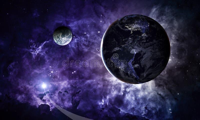 stjärnor för planet för bakgrundsjord fulla Jord i det ändlösa stjärn- utrymmet royaltyfri illustrationer
