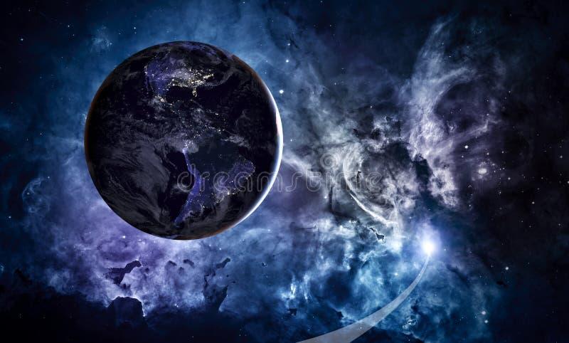 stjärnor för planet för bakgrundsjord fulla Jord i det ändlösa stjärn- utrymmet vektor illustrationer