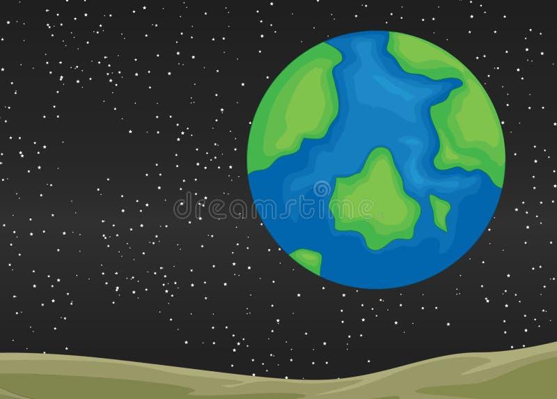 stjärnor för planet för bakgrundsjord fulla vektor illustrationer