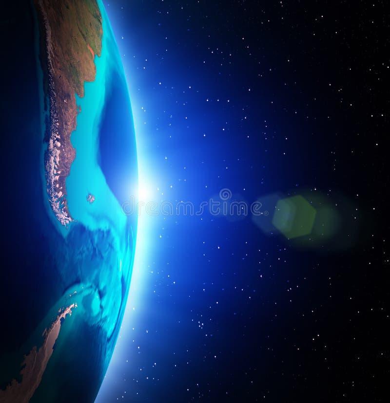 stjärnor för planet för bakgrundsjord fulla royaltyfri illustrationer
