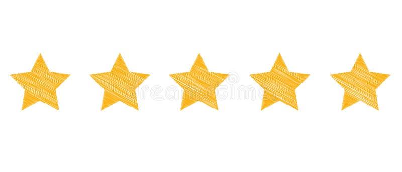 Stjärnor för produktvärdering - vektor klottra illustrationen - som isoleras på vit stock illustrationer