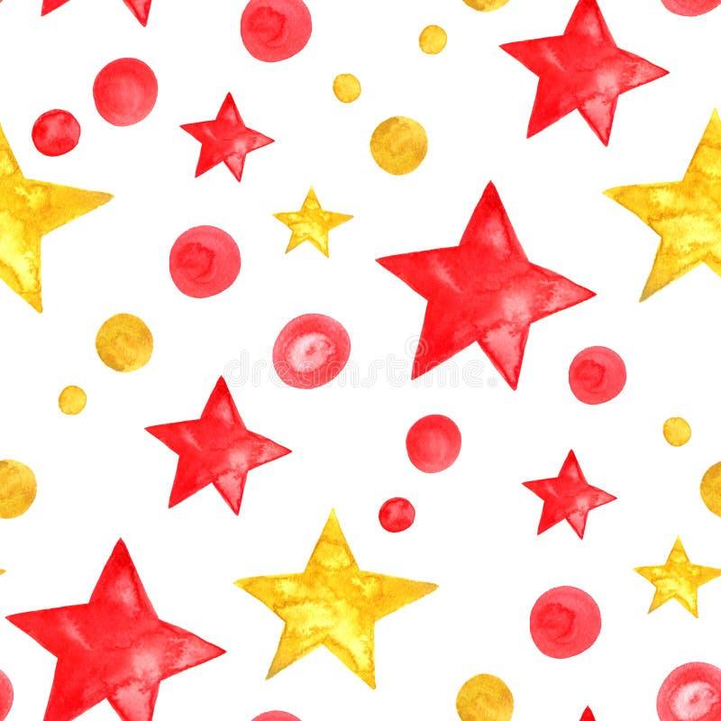 Stjärnor för sömlös modell för vattenfärgcirkel guld- och röda -, prick royaltyfri illustrationer