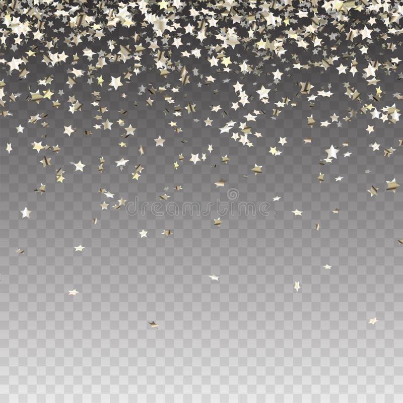 Stjärnor för silver för abstrakt begrepp för materielvektorillustration slumpmässiga fallande på svart bakgrund Blänka modellen f vektor illustrationer