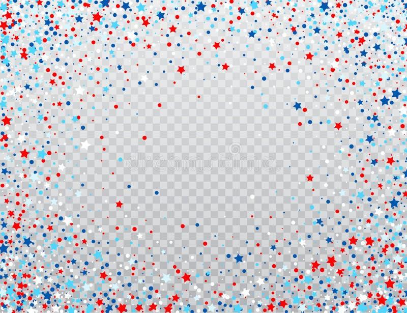 Stjärnor för USA berömkonfettier i medborgaren färgar för amerikansk självständighetsdagen som isoleras på bakgrund vektor stock illustrationer