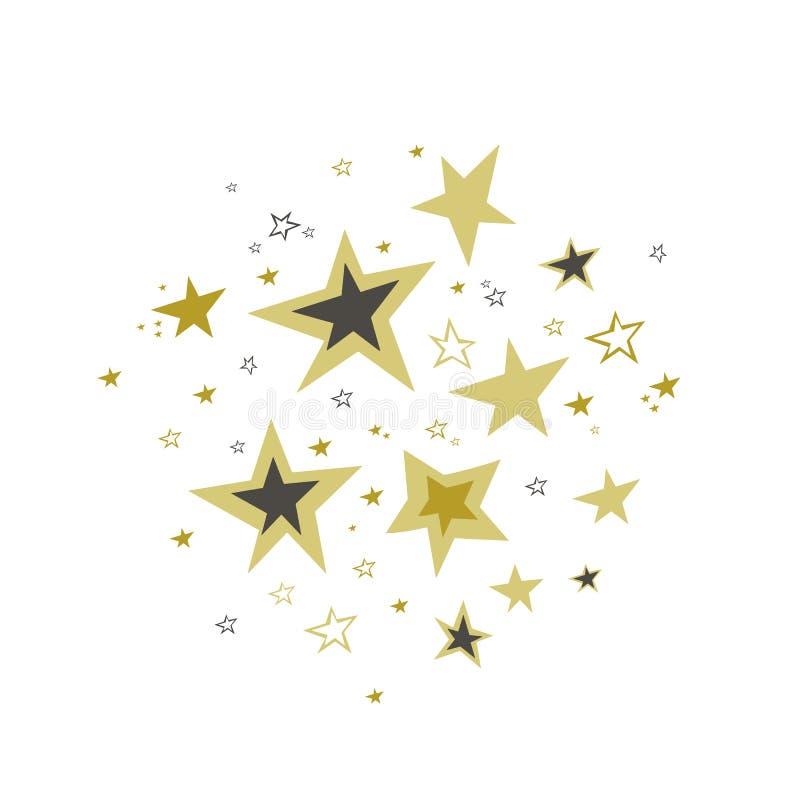 Stjärnor i klotterstil Utdragen stjärnavektor för hand white för bakgrundsguldstjärna Meteoroid komet, asteroid, stjärnor vektor illustrationer