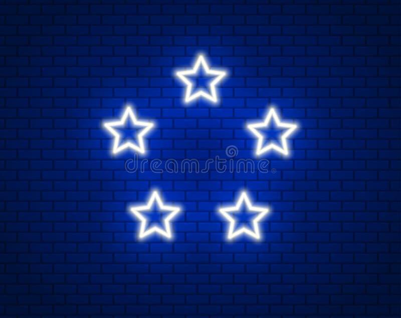 5 stjärnor i neon för neonljuseffekt seger Duva som symbol av f?r?lskelse, pease vektor illustrationer