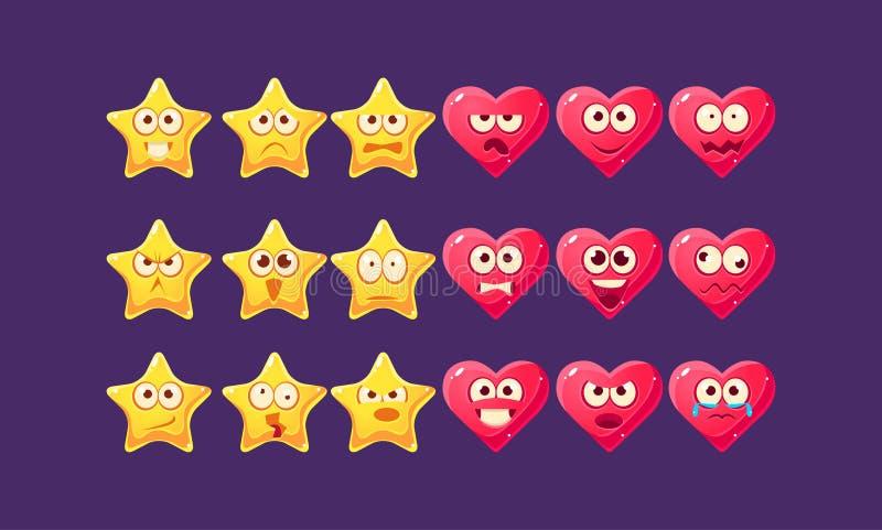 Stjärnor och hjärtaEmoji tecken - uppsättning vektor illustrationer