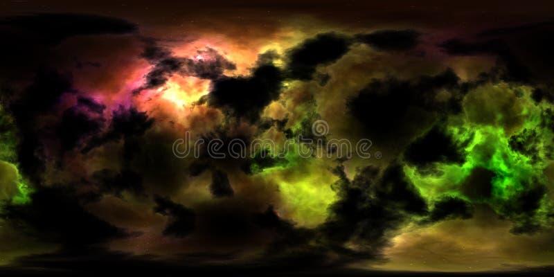 Stjärnor och nebulosa för djupt utrymme 360 grad panorama royaltyfri illustrationer