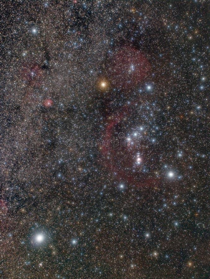 Stjärnor och nebulosor i Orion Constellation fotografering för bildbyråer