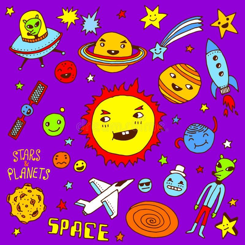Stjärnor och planet abstrakt klotter tecknade blom- inställda handillustrationer arkivfoto