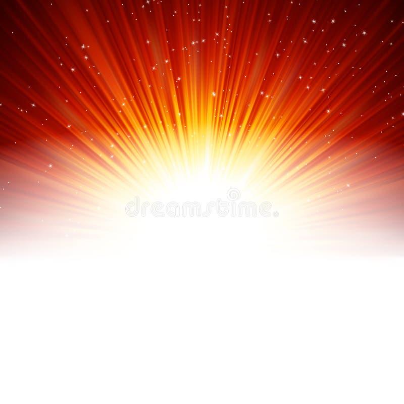 Stjärnor och snöflingor på rött guld-. stock illustrationer
