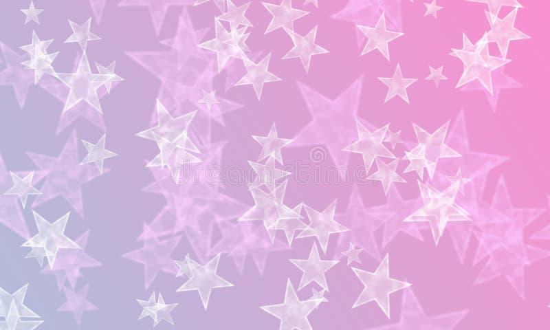 Stjärnor på blått och rosa färger royaltyfri illustrationer