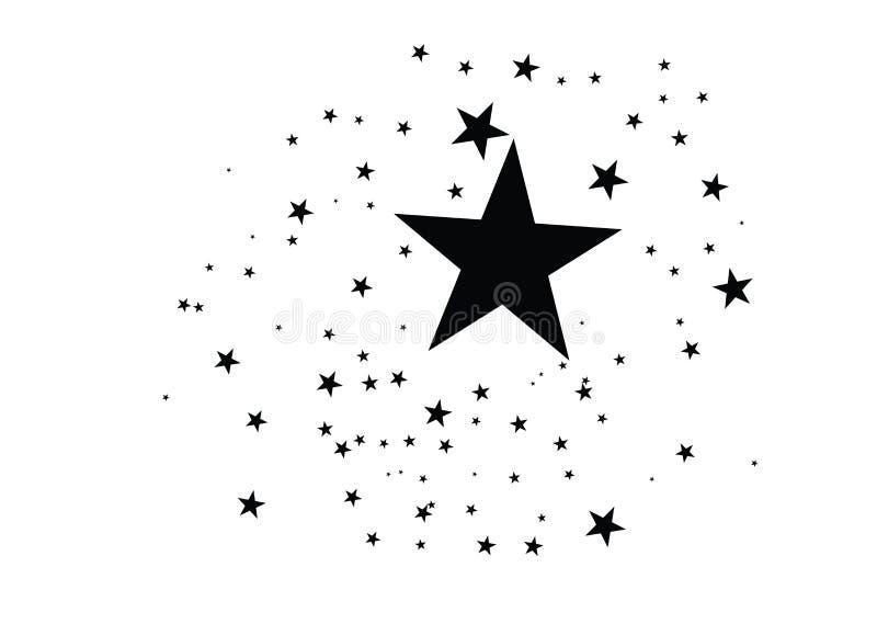 Stjärnor på en vit bakgrund Svart stjärnaskytte med en elegant stjärna Meteoroid komet, asteroid, stjärnor stock illustrationer