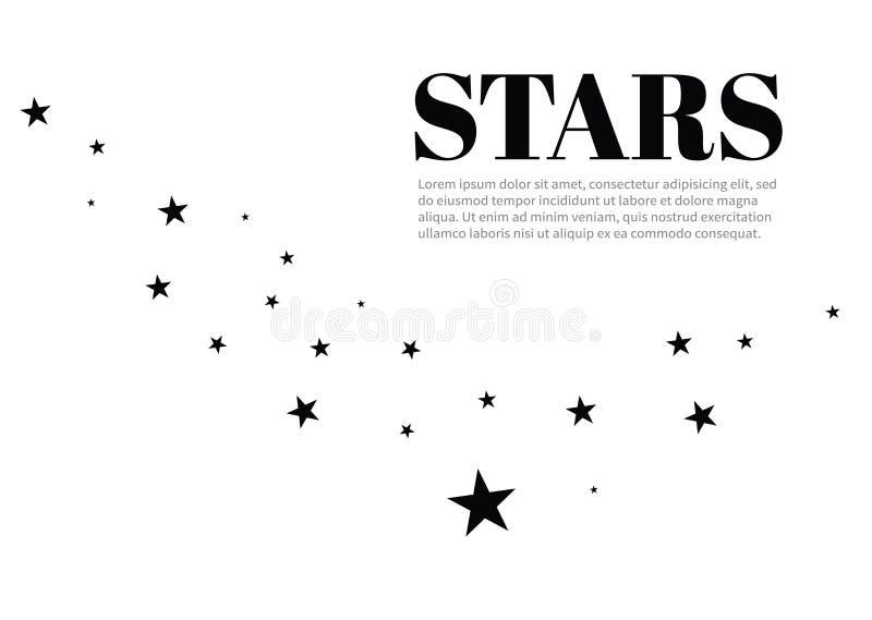 Stjärnor på en vit bakgrund Svart stjärnaskytte med en elegant stjärna Meteoroid komet, asteroid, stjärnor vektor illustrationer