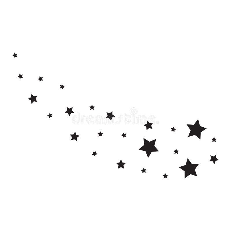 Stjärnor på en vit bakgrund Svart stjärnaskytte med en elegant stjärna Meteoroid komet, asteroid stock illustrationer