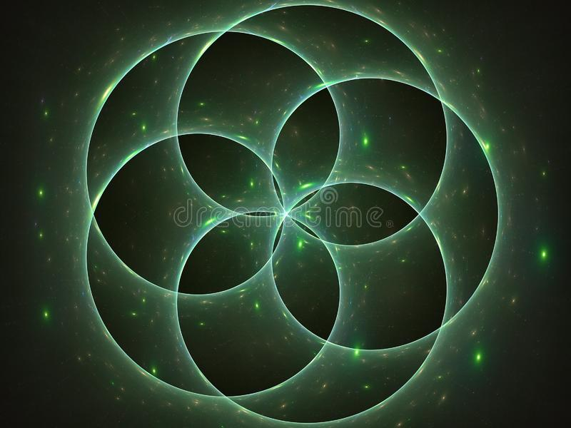 Stjärnor som är strålnings bak cirklar royaltyfri illustrationer
