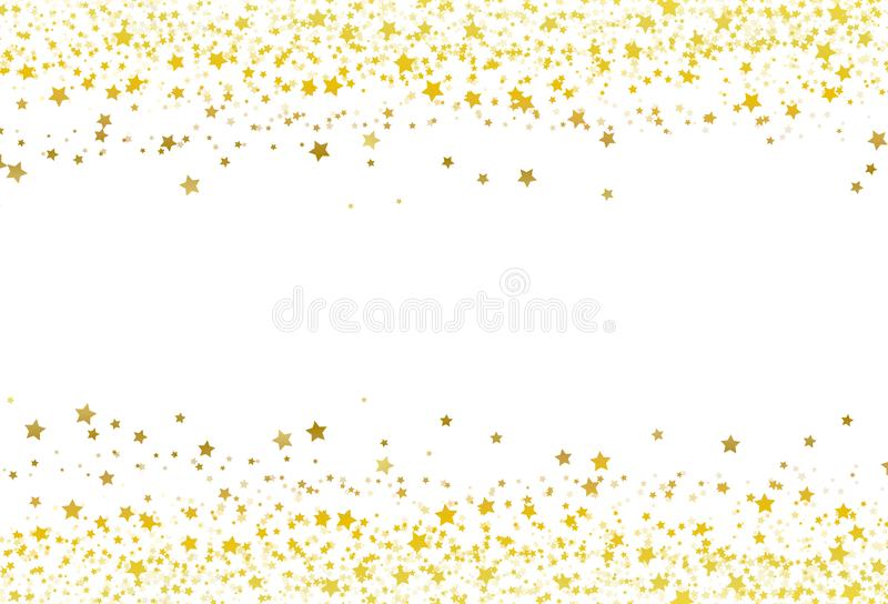 Stjärnor sprider blänker för rambanret för konfettier guld- celebrat för galaxen vektor illustrationer