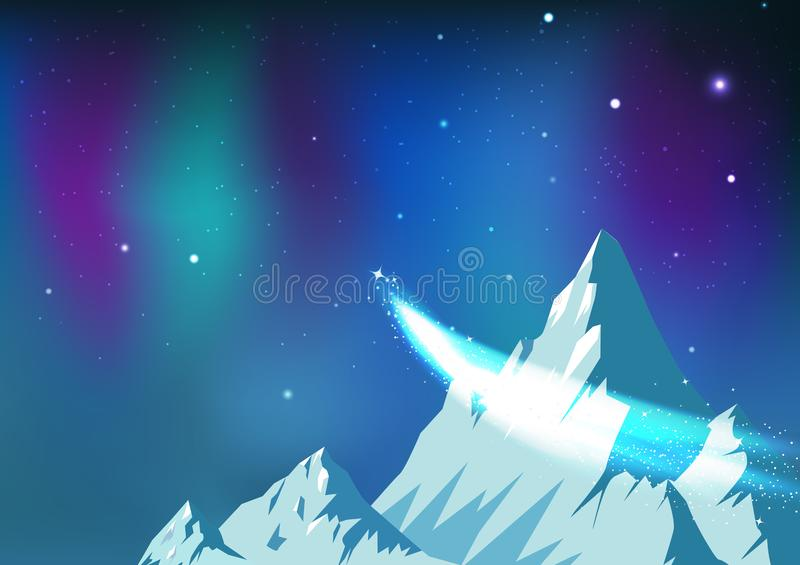 Stjärnor sprider, komet som reser på natthimmel med morgonrodnad, berg för is för fantasiastronomikonstellation, landskap arktisk stock illustrationer