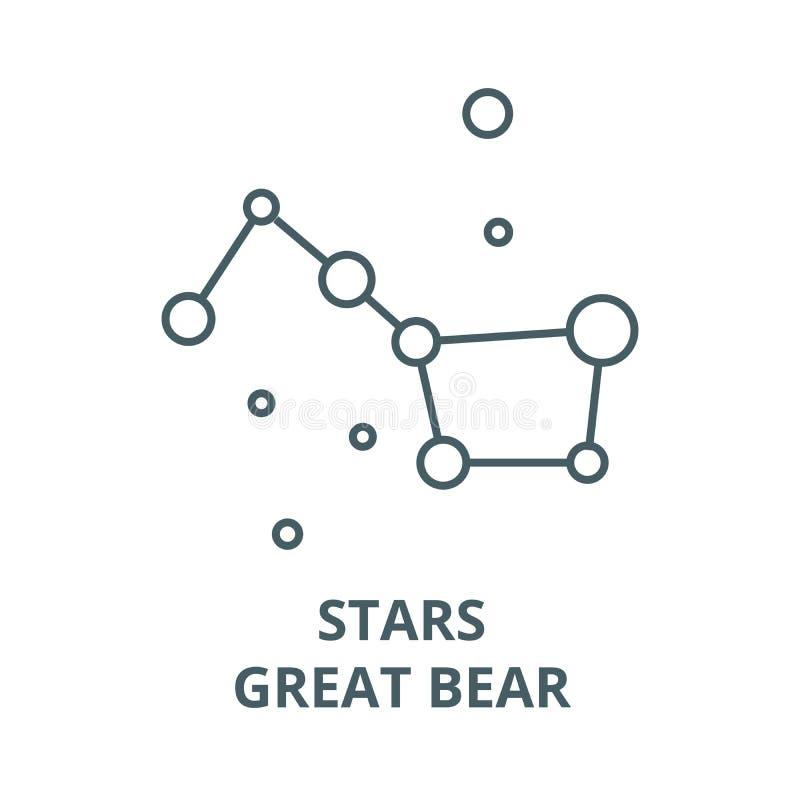 Stjärnor stor skopa, vektorlinje symbol, linjärt begrepp, översiktstecken, symbol för stor björn stock illustrationer