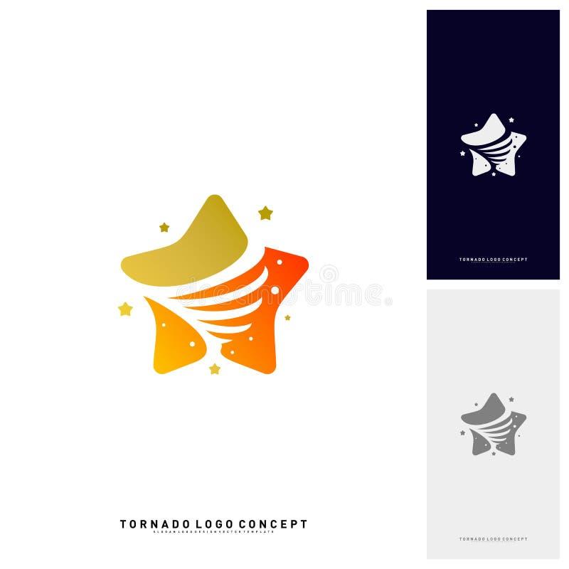 Stjärnor vrider Logo Design Concept Vector Stormstjärnor Logo Vector Icon Mall för trombstjärnalogo royaltyfri illustrationer