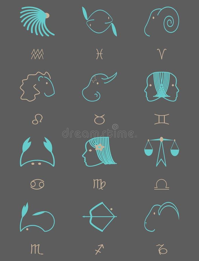 Stjärntecken för en mörk bakgrund royaltyfri illustrationer