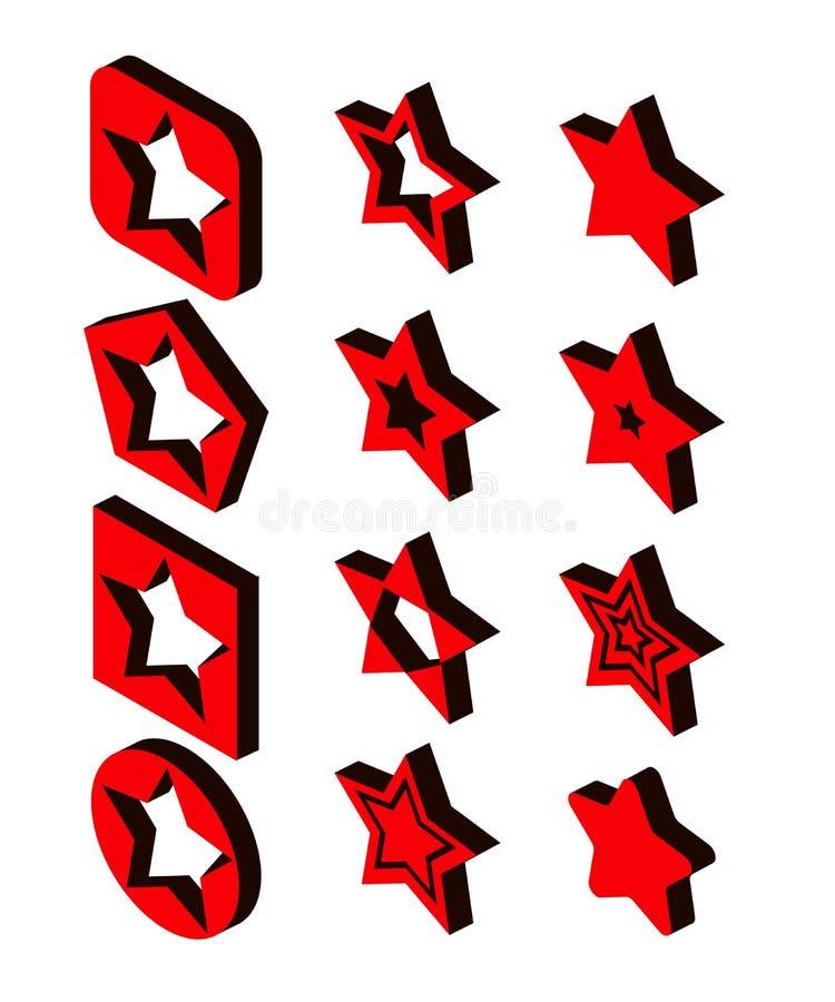 Stj?rnasymbolsupps?ttning i isometrisk stil 3d Röda stjärnor ställde in samlingsvektorillustrationen EPS vektor illustrationer